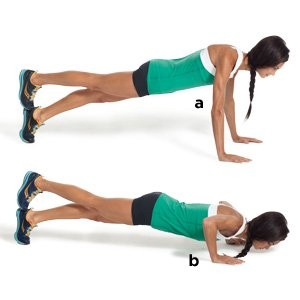 Stacked foot pushup